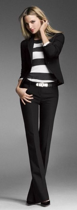 Work or anytime outfit/ Ladies fashion/ black blazer, dress pants, + striped top by Express