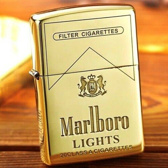 Rare Marlboro Engraved Polished Gold Zippo Lighter Gold Zippo Zippo Zippo Lighter