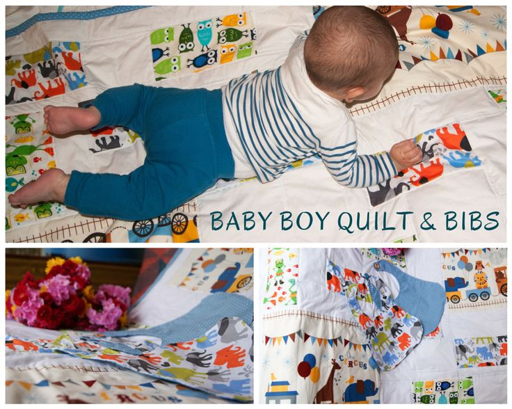 Baby boy quilt and bibs