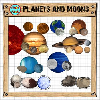 Looking for clip art to help explore the solar system in more detail? This clip art sets includes the Sun, main planets and their moons, dwarf planets and asteroids. There are 30 color PNG images with and without white outline and 30 black and white versions: Ariel (Moon of Uranus)Belinda (Moon of UranusCharon (Moon of Pluto)Deimos (Moon of Mars)EarthEuropa (Moon of Jupiter)Fenrir (Moon of Saturn)Ganymede (Moon of Jupiter)Haumea (Dwarf Planet)Io (Moon of Jupiter)JupiterKalliope…