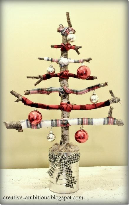 Flannel Twig Branch Christmas Tree with Ornaments by Creative Ambitions