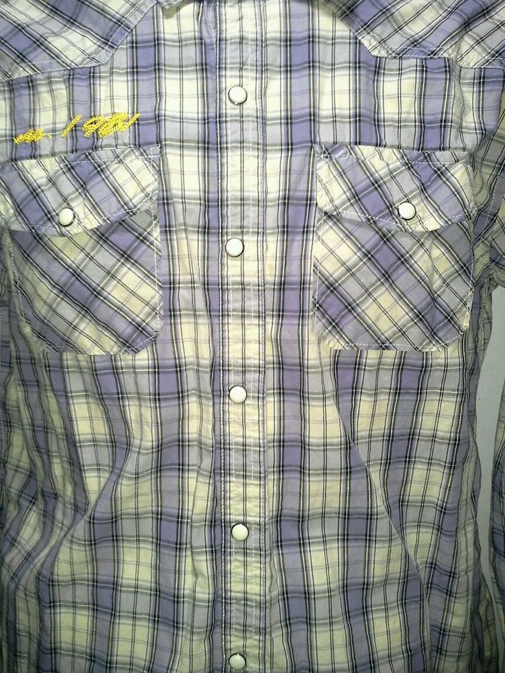 Western rockabilly Mens L patches Shirt, purple White Plaid, Pearl Snap http://hrenoten.com