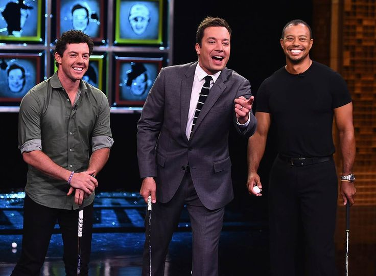 "Tiger Woods and Rory Mcllroy visit ""The Tonight Show"" with Jimmy Fallon at Rockefeller Center in New York on Aug. 18, 2014"