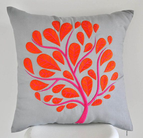 Orange Peacock Pillow Cover, Gray Linen Orange Fuchsia Peacock Tree Embroidery, Tree Pillow Case, Floral Cushion, Modern Home Decor