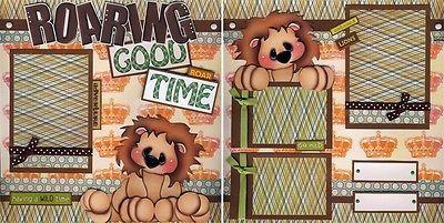 Roaring Good Time 2 Premade Scrapbook Pages Boy Zoo Paper Piecing 4 Album Cherry | eBay