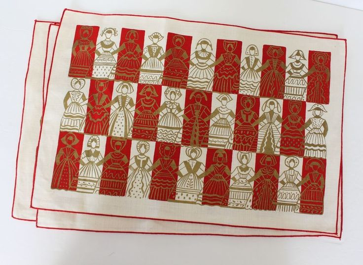 Vintage Linen Scandinavian Placemats Set of 4 Mid Century Red Gold Screen Print