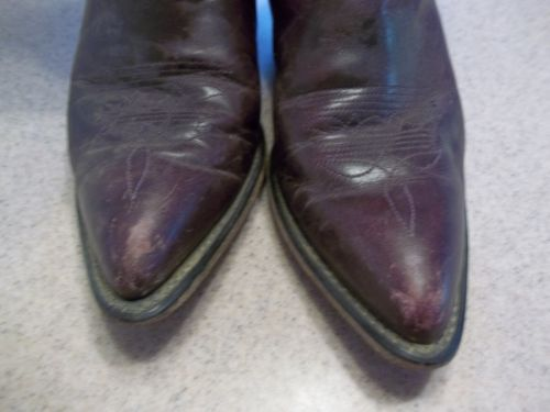 Vintage-Womens-Code-West-Purple-Plum-Leather-Cowboy-Boots-Sz-5-5-Made-in-USA