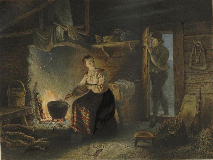 Norske Folkelivsbilleder - Adolph Tidemand - Liv paa Sæteren. (cropped). jpg (4786×3597)