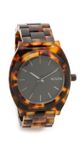 Never be tardy to the party with this tortoise shell watch from Nixon.