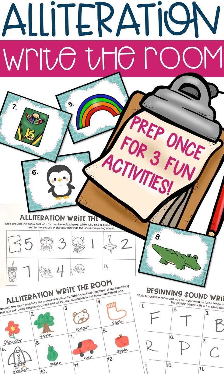 Alliteration Write The Room Center 3 Activities In One Alliteration Kindergarten Writing Alliteration Activities [ 1226 x 736 Pixel ]