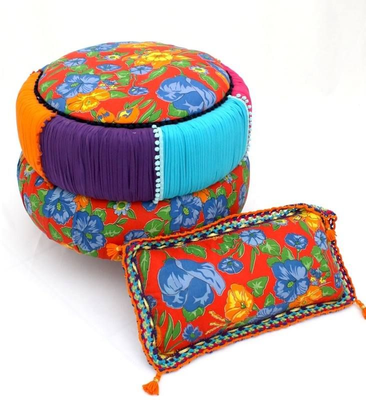 Pin By Storytelling On Happy Fabric: Old Tires + Colorful Fabric = Happy Ottoman!