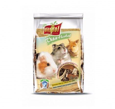 Vitapol VitaHerbal przekąski z gałązki dla gryzoni i królika. Mieszanka paszowa uzupełniająca dla gryzoni i królika w postaci gałązek, i kory różnych gatunków drzew oraz krzewów, bogata w witaminy, minerały i pektyny, naturalnie wspierająca proces ścierania siekaczy. Smakowita przekąska stanowiąca wsparcie codziennej diety, wzmacniająca odporność i poprawiająca kondycję zwierząt.