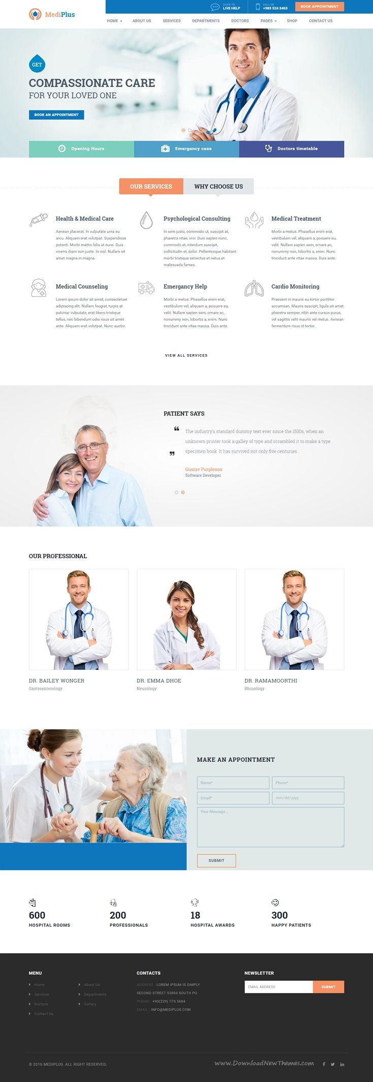 MediPlus is a responsive WordPress themes for hospital, clinic, #doctor, #dentist, surgeon, gynecologist, research center, #health-care, pharmacies and other health and medical related organizations #website.