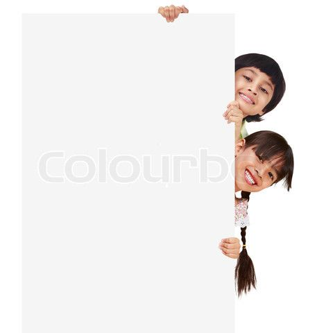 Image of 'Children posing with a white board, Isolated on white' on Colourbox