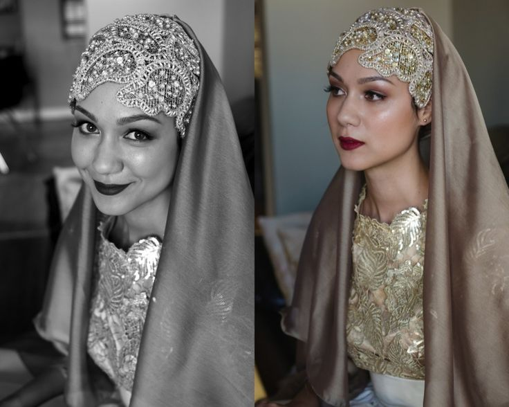 Modest and Islamic bridal hijab with veil
