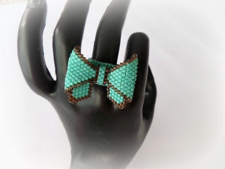Beaded Bow Ring with high quality Japanese Turquoise and Brown Miyuki beads size 11. Peyote stich 100 % handmade. by Vintagespecialmoment on Etsy