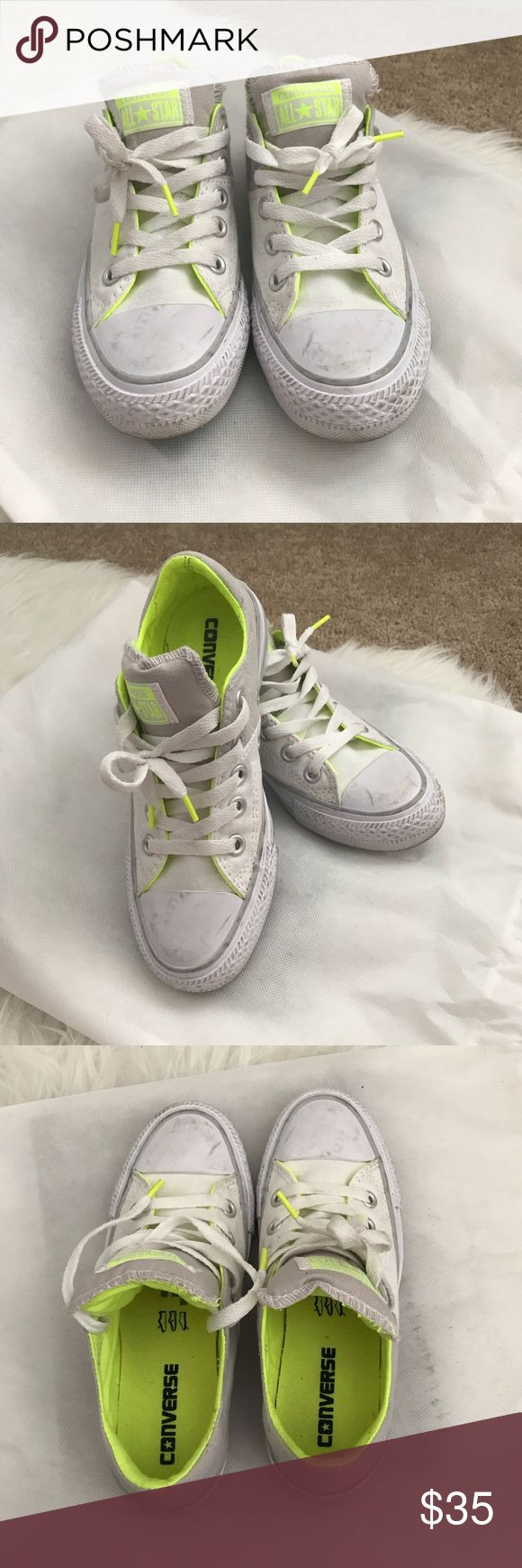 CONVERSE White with Gray Laced Up Shoes Converse Laced Up Sneakers Size 5 (women's) Color: White, Gray & Neon Green Worn a couple of times. It got dirty coz it got buried under my kids shoes. 😬 But it made it look better with a natural wear like that. 😁 In excellent condition!  Please ask me for any questions you may have. 🤗 Converse Shoes Sneakers