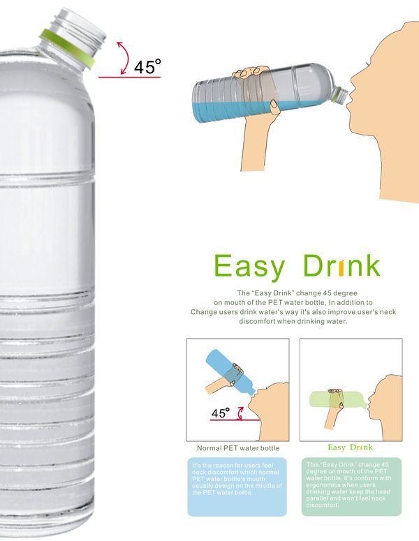 45-Degree Neck. Easy Drinking