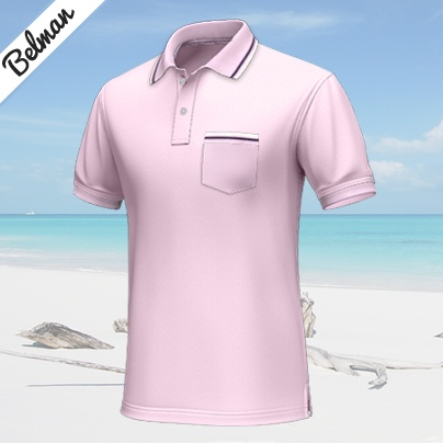 Belman    Pink short-sleeved polo shirt, 100% cotton...    This pink custom polo shirt is perfect for summer. The style is sportive and can thus be worn to many informal occasions. The white lines and the dark blue http://www.tailor4less.com/en/collections/custom-polo-shirts/endless-summer/belman