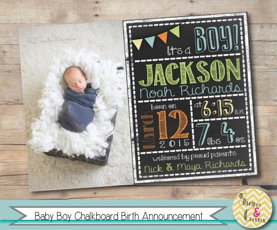 Baby boy birth announcement, Printable chalkboard baby announcement, Photo birth…
