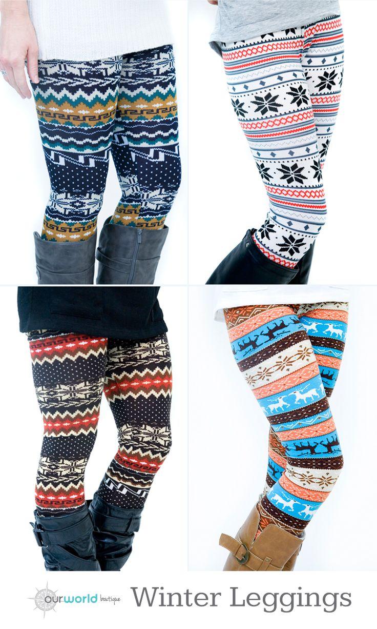 Winter Leggings in 12 Fabulous Patterns and Color Combos - $9.99 #leggings #printleggings #winterfashion