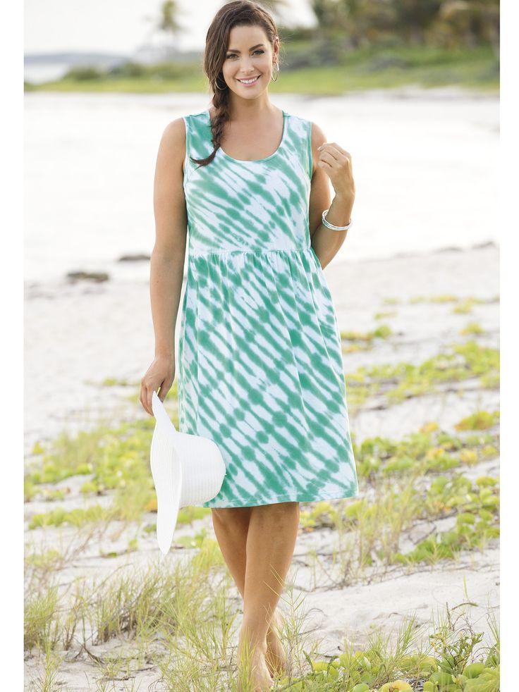 #Women's #PlusSize Baja Tie Dye Knit Empire #Dress