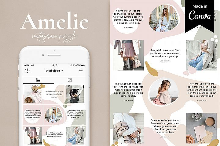 Amelie Instagram Puzzle Template For Canva Inspirasi