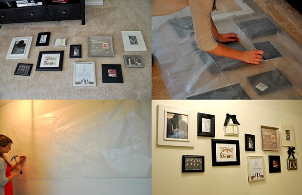 If you're planning to hang a bunch of picture frames on a wall, Marissa Waddell of Roost suggests laying them out on the ground to figure out frame placement. Once you're happy with how the frames look, simply take a large sheet of wax paper and outline the frames. The paper can then be used as a guide for where to hammer in nails on the wall, giving you the exact layout you came up with.