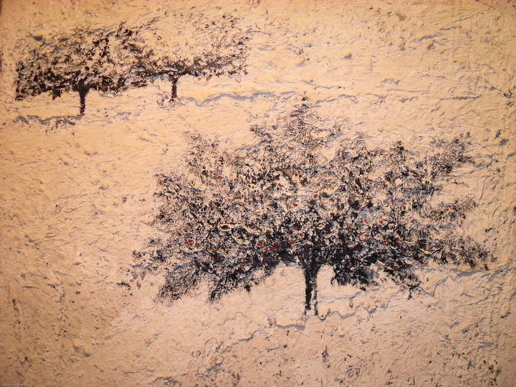 Carlo Mattioli - Paesaggio bianco. Olio su tela.  150x130 cm. 1984.