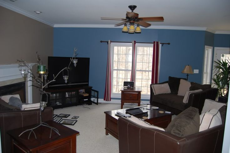 Blue and brown livingroom for the home pinterest - Blue accent walls for living room ...