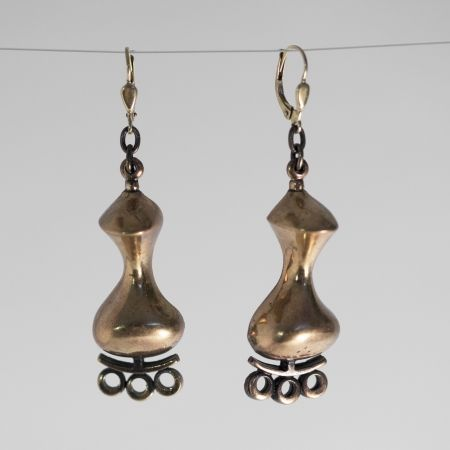 Pair of bronze earrings by Jorma Laine