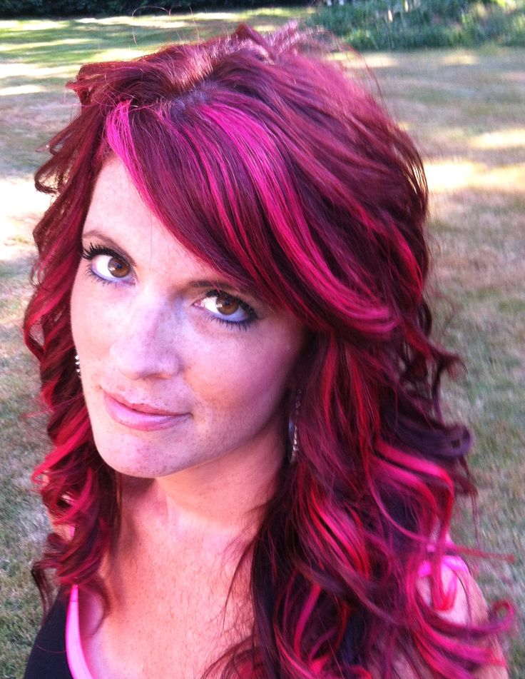 ... Pink Highlights, Hairs Idea, Hot Pink Hairs Highlights, Pink And Red