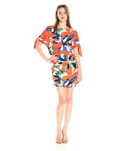 5b7efec3f483 New Vince Camuto Women's Printed CDC Cold Shoulder Shift Dress online.
