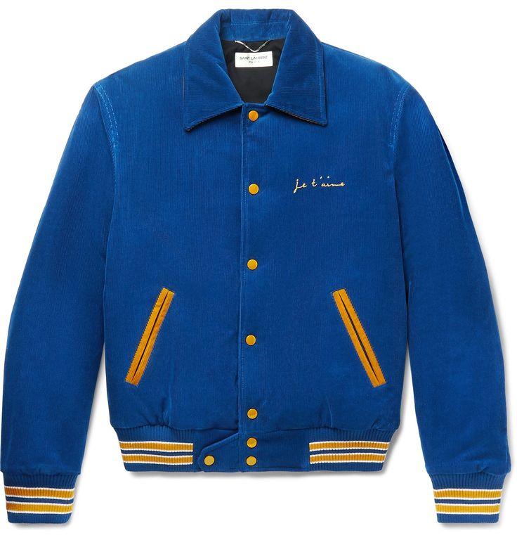 Vintage Corduroy Blue Bomber Jacket by Saint Laurent