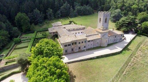 Badia a Coltibuono: aerial view