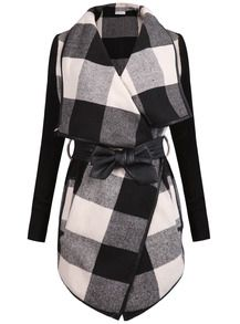 Stay Seriously Chic in the Shien Black White Long Sleeve Plaid Belt Coat . casual styles, fall styles, street styles.