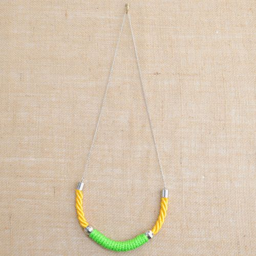 Holi Silk Cord and Green Rope Necklace