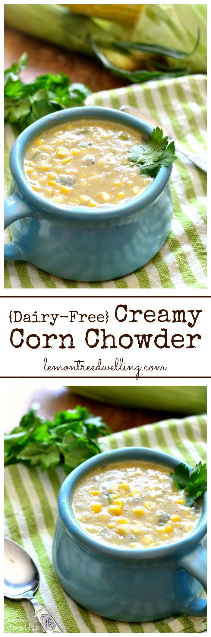 This Creamy Corn Chowder is hearty, delicious, and packed with sweet corn flavor.....and you'd never guess it's dairy-free!