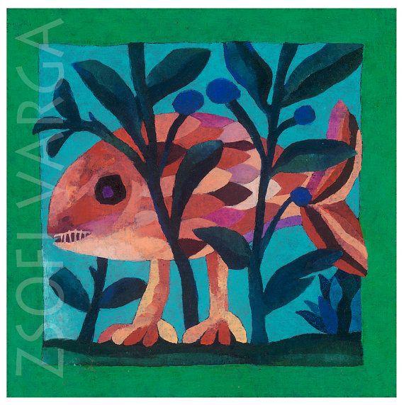 #fish #art #etsy #ZsofiVarga #giclee print #pink #contemporary art #beast #fantastic beast #surreal