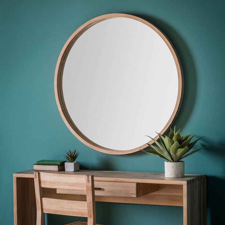 "Bowman Large Country Classic Style Round Wooden Frame Wall Mirror - 39"" Diameter"