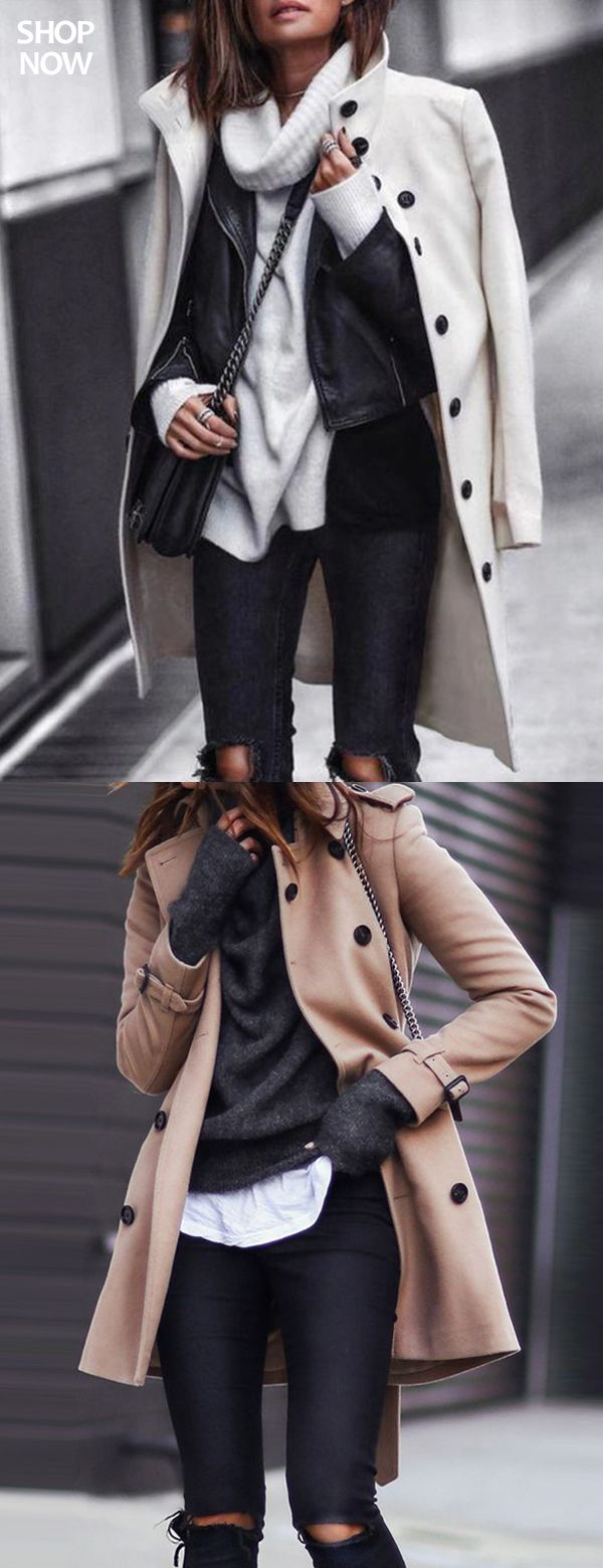 Women's Button Long Wool Coat