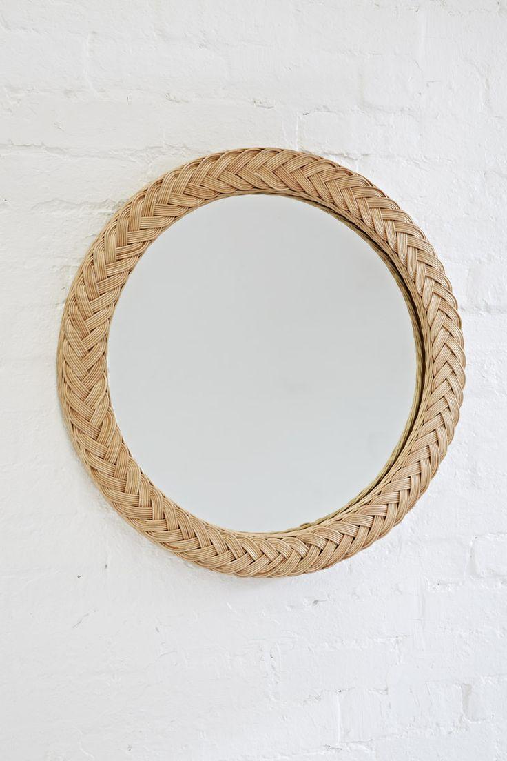 Large Plaited Round Mirror Natural