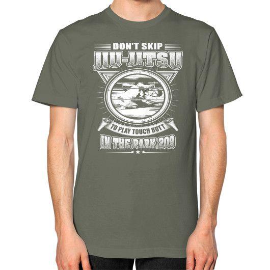 DONT SKIP JIU JITSU Unisex T-Shirt (on man)