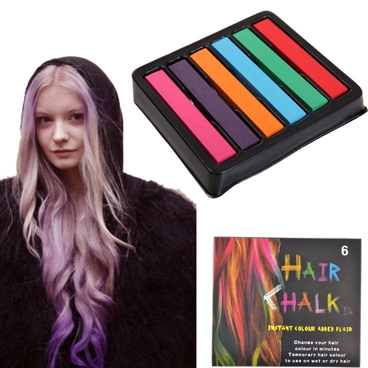 Hots 6 pcs pastéis para cabelo louco cor corante em pó pânico Manic giz não tóxicos macio giz de cera para colorir o temporária blue alishoppbrasil