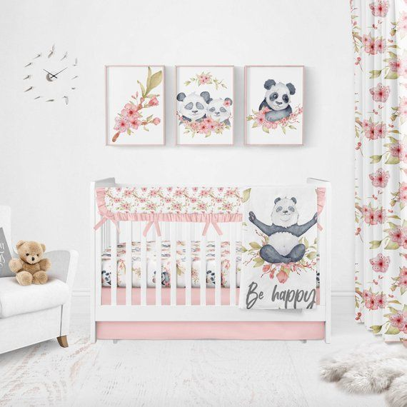 Panda Bear Crib 100/% Cotton Sateen Cozy Baby Bedding Room Designed Set 6 pcs