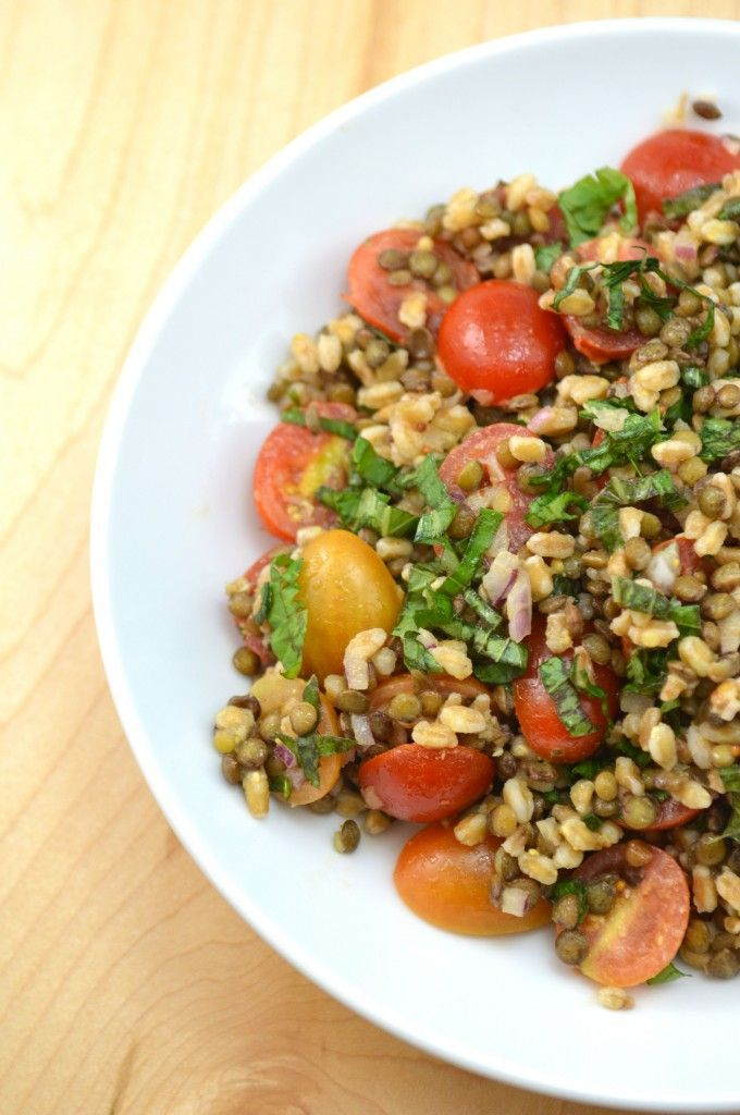 Lentil Farro Salad with Champagne Vinaigrette, a food drink post from ...