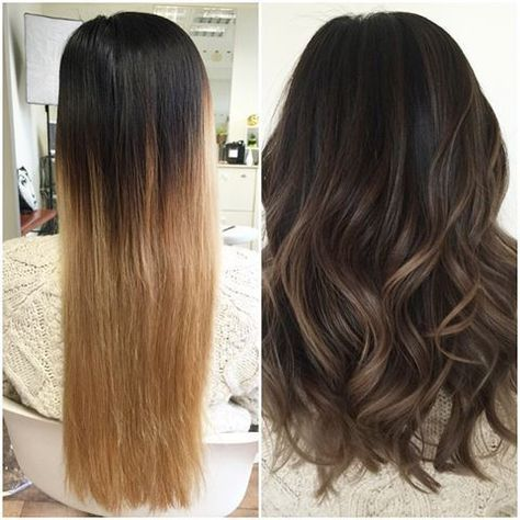 Balayage cheveux brun avant apres - Balayage pour brune ...