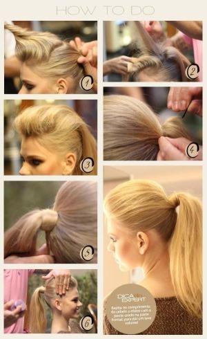 poofed up ponytail So gotta do this one day. Diy hairstyle Diy hair tutorial diy hair updo diy hairstyle simple medium hair diy by sammsfamily