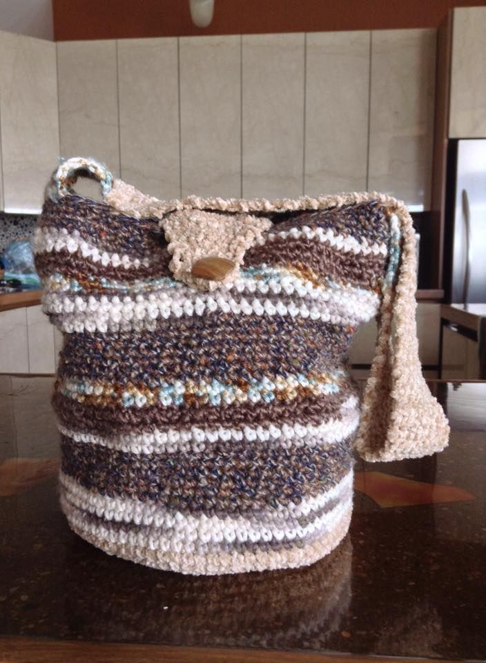 #22 mixed cotton earth & browns with chenille bottom/strap