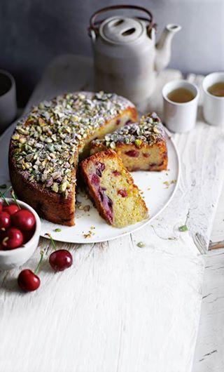 ... cherry, pistachio & marzipan cake ...